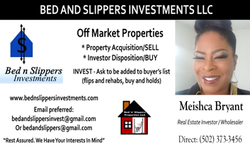 Meishca Bryant, Bed and Slippers Investments LLC