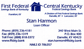 Stan Harmon, First Federal Savings Bank of Kentucky
